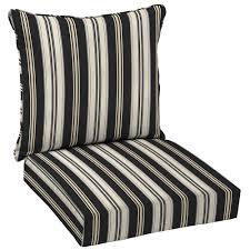 hampton bay black stripe deep seating outdoor lounge chair cushion