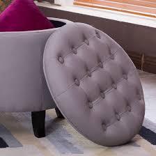 belleze nailhead round tufted storage ottoman large footrest stool
