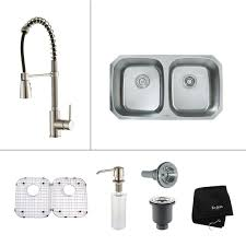 home depot double stainless steel sink kraus all in one undermount stainless steel 32 in double bowl