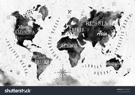 Black And White World Map Ink World Map Vector Format Black Stock Vector 221659567