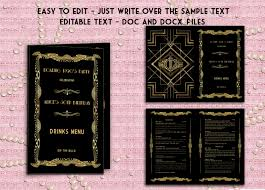 wedding bar menu template printable wedding drinks menu template deco great gatsby
