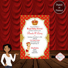 the red royal prince baby shower invitation