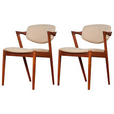 Teak Dining Chair Pair Of Mid Century Danish Model 42 Teak Dining Chairs By Kai