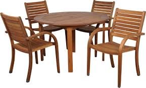 Outdoor Dining Chair by Amazonia Arizona 5 Piece Wood Outdoor Dining Set With 47