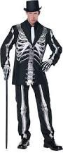 Men Black Halloween Costume Bone Daddy Skeleton Mens Costume Classy Black Suit Theme