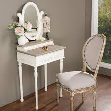 Makeup Vanity Table With Lights And Mirror Baxton Studio Alys White And Light Brown French Vanity 28862 6038