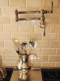 Pot Filler Kitchen Faucet Faucet Design White Daltile Backsplash With Bronze Pot Filler