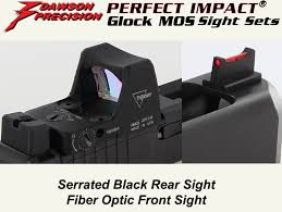 glock mos fixed co witness sight set black rear fiber optic front