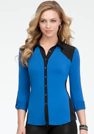 blouse button lyst bebe contrast chiffon button up blouse in blue