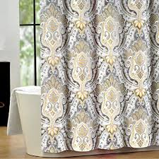 Grey And Yellow Shower Curtains Tahari Luxury Cotton Blend Shower Curtain Yellow Gray Paisley On