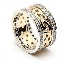 celtic wedding celtic knot wedding band with diamond trim 14k gold