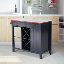 homcom kitchen island storage cabinet wood top workstation drawers homcom kitchen island storage cabinet w wine rack black