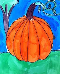 watercolor pumpkin art projects for kids