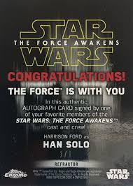 Star Wars Congratulations Card Star Wars Tfa Chrome Harrison Ford Superfractor Autograph
