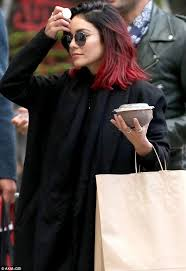 long bob with dipped ends hair vanessa hudgens covers up in all black on a new york outing with