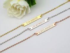 Custom Bar Necklace Roman Numerals Necklace Roman Dates Bar Necklace Custom Engraved
