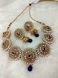 bridal jewelry necklace earrings images Babosa sakhi blue indian bridal jewelry polki kundan pearl jpg&a