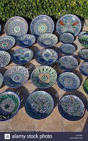 uzbekistan samarkand souvenir plates for sale stock photo
