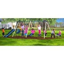 playground metal swing set outdoor play slide kids backyard