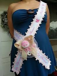 baby shower for to be baby shower to be it s a girl sash pink with rattle ribbon and