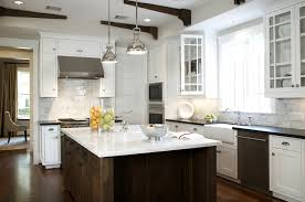 carrara marble kitchen island white farmhouse style kitchen with glass front cabinets walnut