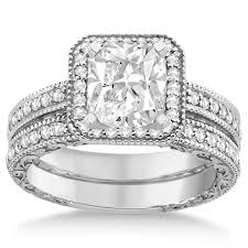 rings with square images Square halo wedding band engagement ring 14kt white gold 0 52ct jpg