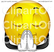 clipart of a yellow smiley emoji praying royalty free vector