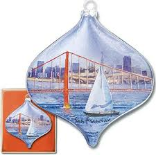 san francisco sailboat and golden gate bridge glass ornament a