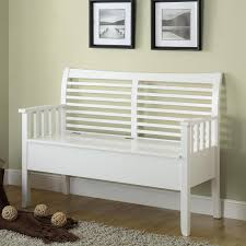 White Wood Storage Bench White Wooden Indoor Storage Bench With Curved Back And Arms Of 19