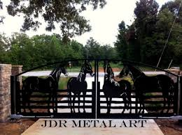 ornamental driveway gates with horses for atlanta ga residence