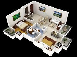 Modern 2 Bedroom 1000 Ft Home Design Plans 3d Inspirations With