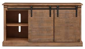 ashcroft media credenza with wine storage driftwood american