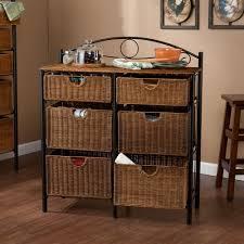 Cabinet Baskets Storage Southern Enterprises Jerome 6 Drawer Iron And Wicker Storage
