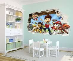 paw patrol smashed wall stickers 3d bedroom boy and girls mural