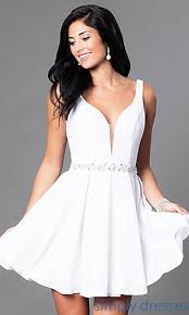 white dress wedding guest party dress with jeweled waist