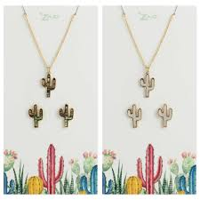 earring necklace set images Shell cactus earring necklace set jpg