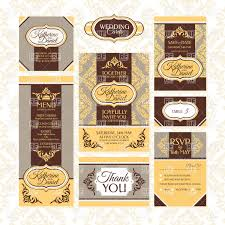 Wedding Invitations With Menu Cards Set Of Wedding Cards Rsvp Invitation Menu Card And Thank You