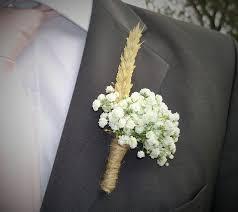 boutonniere mariage boutonnière garçon d honneur style chêtre gypsophile et blé