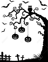 vector illustration of halloween background with dead tree