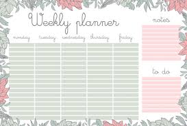 weekly planner with flowers stationery organizer for daily plans