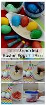 mess free easter eggs made with dry rice and food coloring a