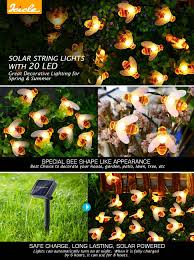 Solar Powered Icicle Lights by Amazon Com Icicle Solar String Lights 20 Led Honey Bee Shape