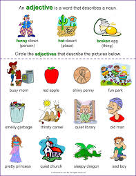 adjective worksheet for grade 1 continuous perfect and by grade