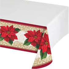 Patio Party Vinyl Tablecloth by Poinsettia Lace Plastic Tablecloth Walmart Com