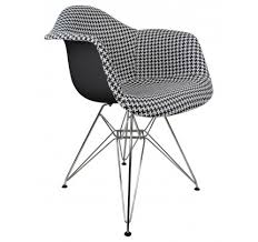 houndstooth pattern woven fabric upholstered white eames style