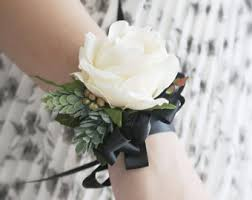 black and white corsage pink wrist corsage bridesmaid corsage pearl corsage