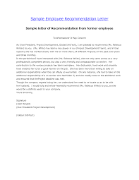 letter recommendation for employee