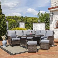 Outdoor Table Ls Sunnydaze Aurelia 5 Rattan Sofa Dining Patio Furniture Set