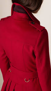 burberry pleat detail wool cashmere trench coat in red lyst