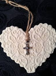 handmade rustic salt dough with cross charm made with clay